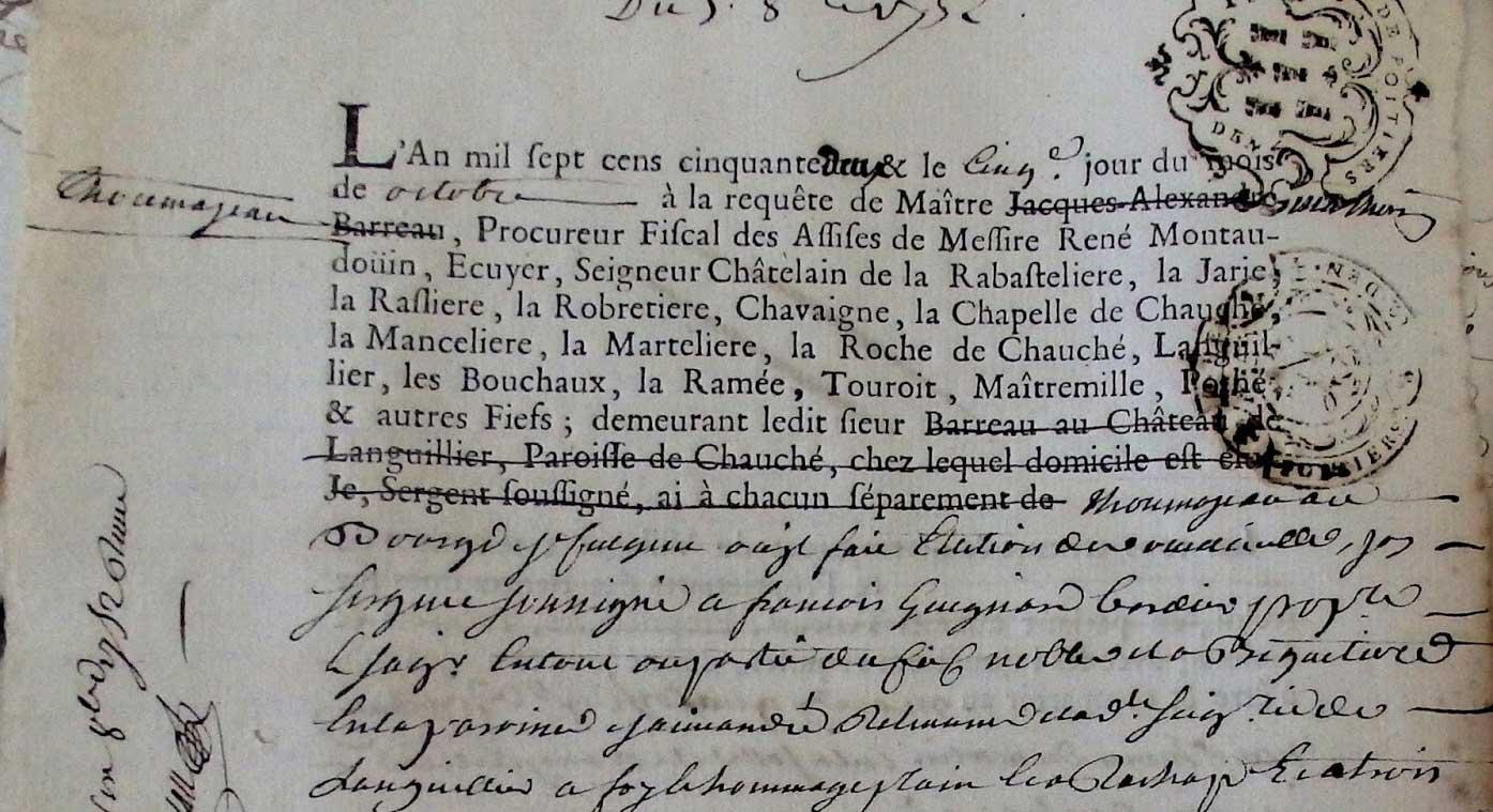 Acte notarié 1750